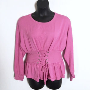 Express One Eleven Top Pink Laces Long Sleeves L